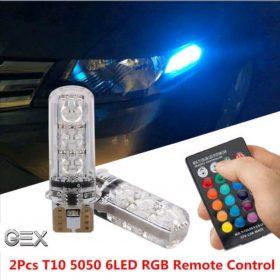 quality premium remote T10 rgb car led 8 colour chnging 6SMD